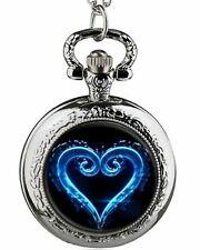 Kingdom Hearts Blue Heart Logo Silvertone Finish Pendant Pocket Watch
