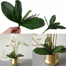 Butterfly Orchid Leaf Artificial Green Silk House Room Decor Flower Pot Beauty