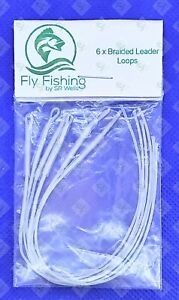 6 Braided Leader LOOPS Clear Fly LINE CONNECTOR Loop 30lb Floating  FLY FISHING