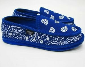 ROYAL BLUE BANDANA SLIPPERS HOUSE SHOES TROOPER AMERICA CHICANO RAP PAISLEY