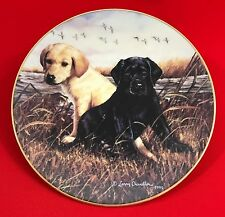 Larry Chandler Puppy Portrait Collector Plate, Ebony & Ivory Lab Pup, Lenox