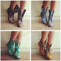 Women's Vintage Zipper Lace Up Ankle Boots PU Leather Combat Punk Biker Shoes