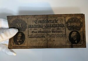 Confederate States of America $1000 Dollar Bill May 28 1861 Banknote