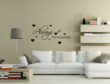 Always Kiss Me and Goodnight Wall Quotes Wall Art Bedroom Wall Stickers UK 50p