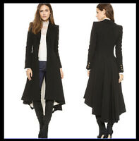 Military Goth/Steampunk Victorian Trench Coat Ruffle Swallowtail Jacket Overcoat