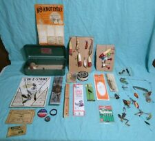 New listing Vintage Fishing Tackle Asst. Lures Hook Holders Tackle Box Tins Zodiac + More