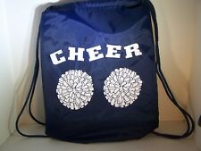 Cheer Bags | Liberty Drawstring | NavyBlue w/White Poms Cheer Design | 18Lx14W