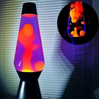 "Lava Lamp Original Motion Night Light Silver Base Yellow Wax Purple Liquid 14.5"""
