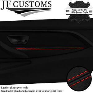RED STITCH LEATHER FRONT DOOR ARMREST COVERS FOR BMW F32 F33 F82 F83 M4