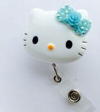 """New! Bling Hello Kitty 1.9"""" Retractable Reel ID Badge Holder_lit blue Flower"""