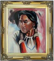Framed, Portrait of a Native American, Hand Painted Oil Painting 20x24in
