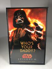 Darth Vader Poster Who's Your Daddy Framed Fathers Day Episode III Star Wars