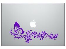"""Flower and Butterfly in purple color car truck SUV laptop decal sticker9"""" Purple"""