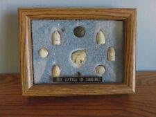 9 Battle of Shiloh Relics 5 Bullets 2 Musket Balls 1 Metal Cap 1 Eagle Button