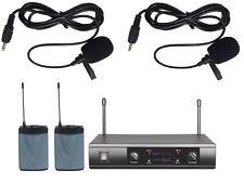 Pro UHF Dual Channels Wireless Cordless Lapel Lavalier Microphone
