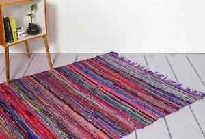 Hand Woven Area Rug Handmade Purple Chindi Rag Rug Floor Mat Boho Rug Rug 3 X 5