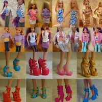 Lot 5 Set Fashion Handmade Clothes Outfit + 5 Pairs Shoes for Barbie Doll 2017