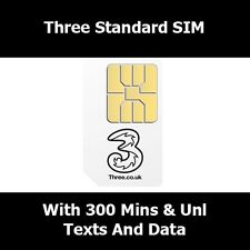 Three Network Nano Sim Card For iPhone 5 - With 300 Mins Unlimited Text & 12 GB
