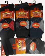 12 pairs Of Men's Argyle Thermal Socks, Thick Warm formal Boot Socks Size 6-11