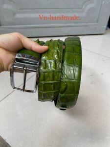 Green  GENUINE ALLIGATOR CROCODILE BALLY LEATHER SKIN BELT Wide 3,5cm + Buckle