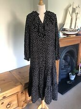 Zara Black And White Polkadot Midi Dress S UK10 Bnwt