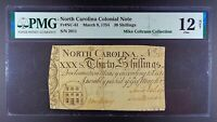 1754 North Carolina 30s Colonial Note, NC-81, PMG F-12 Net.