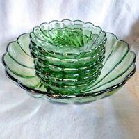 7 pc Vintage Hazel Atlas Green Capri Serving Bowl & Individual Bowls Set USA