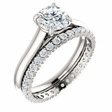 4.20Ct Round Cut Diamond Solitaire Engagement Ring/Eternity Band I,VS2 GIA Plat