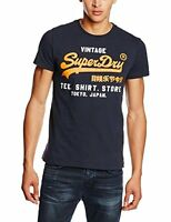 Superdry Mens Shirt Shop Duo Tee Vintage T Shirt Eclipse Navy Orange White