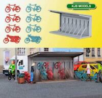 BNIB OO HO GAUGE KIBRI 38143 BICYCLE RACK WITH BIKES & 2 MOTOR BIKES - KIT