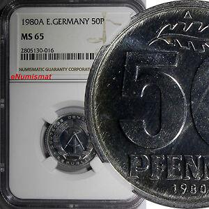 German-Democratic Republic DDR 1980 A 50 Pfennig NGC MS65 TOP GRADED KM#12.2(16)