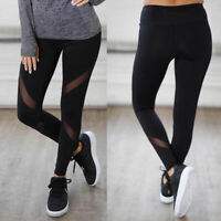 Womens Sports Mesh Yoga Pants High Waist Fitness Jogging Gym Workout Leggings