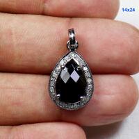 Black Spinel Gemstone Pave Diamond 925 Sterling Silver Jewelry Charm Pendant ODS