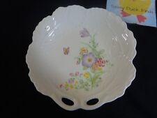 """Vintage Candy Nut Dish PURPLE BUTTERFLIES FLOWERS 6"""" Porcelain Japan"""
