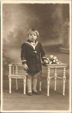 Bracquegnies, Belgium. Child Uniform Flowers Studio Cropped Hair Fringe   RM.403