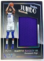 2018-19 Panini Noir Rookie Jumbo Material Marvin Bagley III Jersey RC, #'d /99