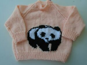 """New Hand Knitted Panda Sweater 20/22"""" chest ( 1/2 yrs)"""
