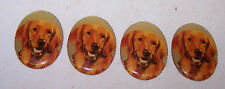 4 Vintage Golden Retriever Dog Decorative Medallions for Crafts Art Jewelry