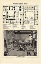 1907 Antique Print Meyers Institute of Technology in Karlsruhe Germany PLAN