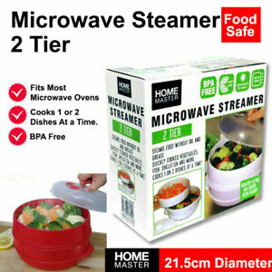 2 Tier Microwave Steamer Double Layer Cooking Meals Kitchen Vegetable