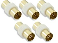 5x Coax TV Television Aerial Female to Female Adapter Coupler Connects 2 Cables