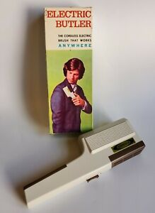 Vintage 1960s-70s FORDA ELECTRIC BUTLER Battery Powered Lint Remover in Box NOS