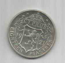 Cyprus 18 Piastres 1921 PROOF Strike  Silver King George V KM14 Greece  Chipre