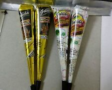 2X HERBAL BLACK COLOR HENNA CONES + 2X White Henna Cone kit Body Art Mehandi ink