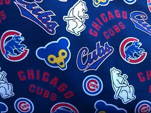 NEW MLB COTTON Fabric 1/4 yard=9in X 44 inches CHICAGO CUBS COOPERSTOWN DIY MASK