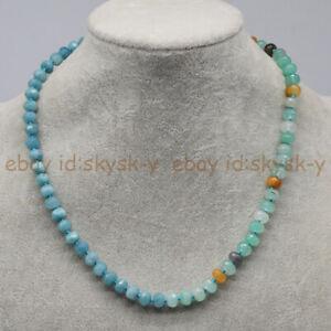 Faceted 5x8mm Blue Aquamarine & Amazonite Rondelle Gemstone Beads Necklace 18''