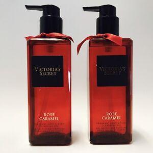 2 Victoria's Secret Rose Caramel Fragrant Hand & Body Cleansing Gel 8.4 oz