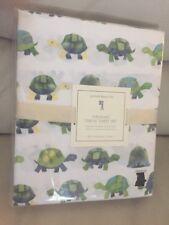 4pc New Pottery Barn Kids Organic Cotton Turtle 🐢 Full Sheet Set NIP