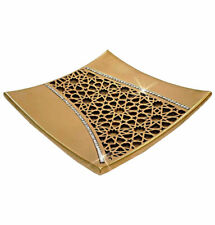 Modefa Turkish Islamic Home Table Decor Selcuk Geometric Square Plate - Gold