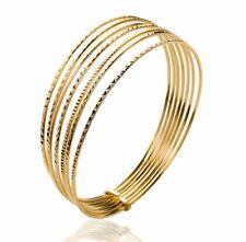 Semainier Bracelet 7 Jonc Plat Plaqué Or 750